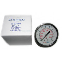 """Манометр осевой глицериновый Maitec (1/4"""") 0 - 6 бар (63 мм.) нерж. сталь"""
