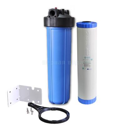 "Корпуса фильтров BIG BLUE - Фильтр Big Blue AquaMarine Big  Blue 20"" + угольный картридж AquaMarine UDF-KDF20BB с загрузкой KDF (BB20) - фото 1"