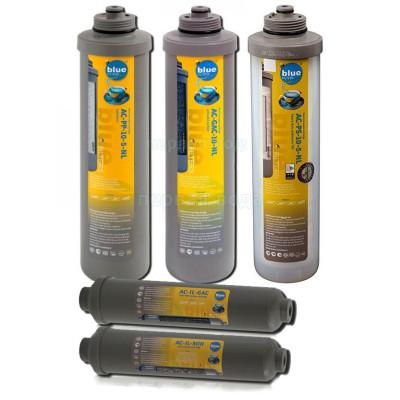 Картриджи для осмоса и проточных фильтров - Годовой комплект (5шт) картриджей предочистки Bluefilters New Line (усиленный по мех. загрязнениям) - фото 1