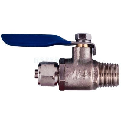 """Подключения, краны, хомуты, диверторы - Шаровый вентиль под трубку 1/4"""" BV-2BC (для подключения фильтра к водопроводу) - фото 1"""